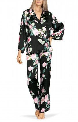 Two-piece pyjamas comprising a long-sleeve shirt top with floral pattern.
