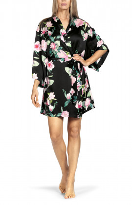 Short robe with floral pattern on black satin.