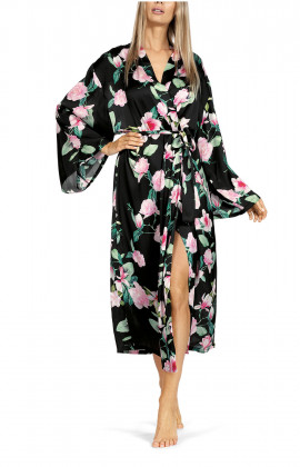 Long robe with flared sleeves and floral pattern on black satin.