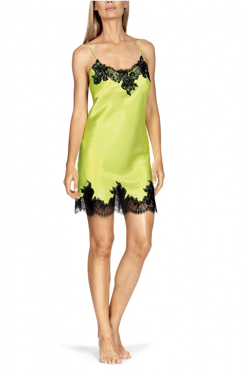 Satin and lace nightdress with corset back and bright colours. Coemi-lingerie
