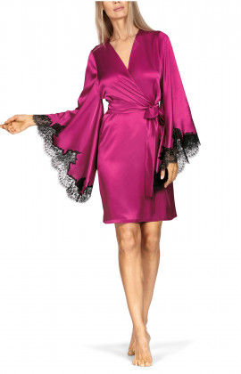 Mid-thigh-length satin and lace robe in bright colours.