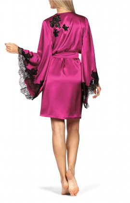 Mid-thigh-length satin and lace robe in bright colours. Coemi-lingerie