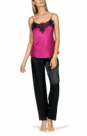 Set comprising a strappy top with lace inserts and matching trousers.