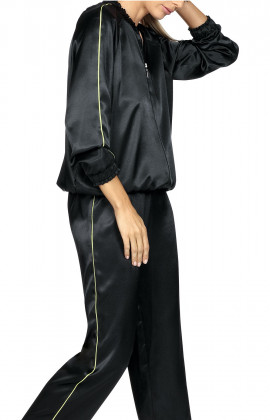 Black satin bomber jacket with brightly-coloured piping. Coemi-lingerie