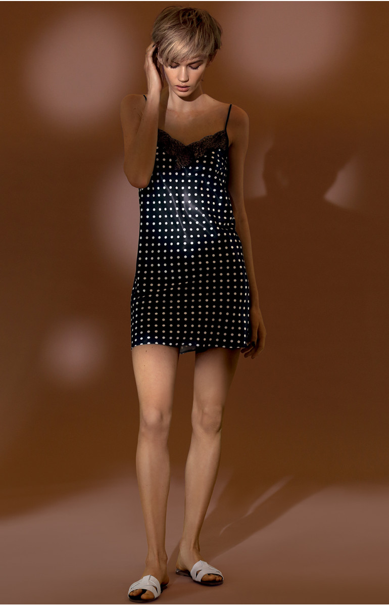 A strappy, polka dot pattern satin and lace slip dress. Coemi-lingerie