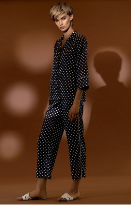 Two-piece satin pyjamas with polka dot pattern shirt top. Coemi-lingerie