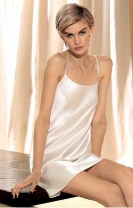 100% silk strappy slip dress – Black, white or pink.