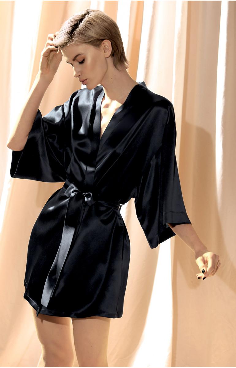 Short, 100% silk kimono with three-quarter sleeves. Coemi-lingerie