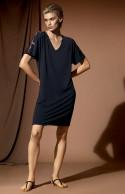 Short-sleeve tunic nightdress with V-shaped neckline.