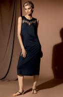 Sleeveless, calf-length midi nightdress with round neck.