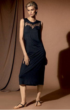 Sleeveless, calf-length midi nightdress with round neck.