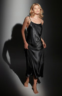 Long satin nightdress with thin straps