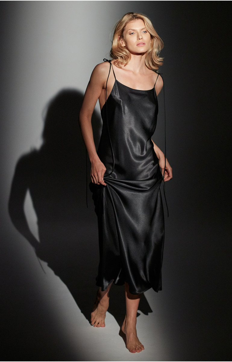 Long satin nightdress with thin straps - Coemi-lingerie