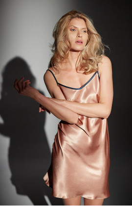 Satin negligee with thin straps and contrasting edging
