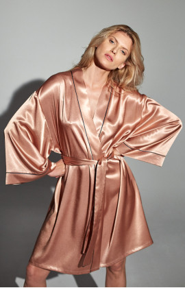 Knee-length satin dressing gown with flared sleeves and thin, contrasting edging