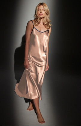 Long satin nightdress with thin straps and slightly flared skirt