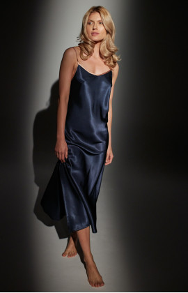 Long satin nightdress with thin straps and slightly flared skirt - Coemi-lingerie