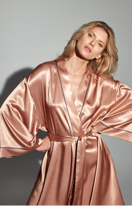 Very long, ankle-length satin dressing gown with long, flared sleeves