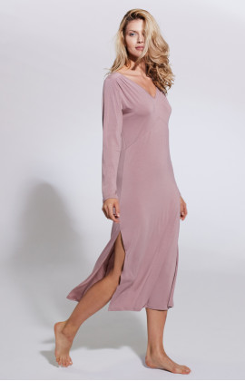 Long nightdress/lounge robe with V-neck and side slits - Coemi-lingerie