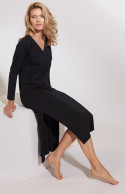 Long nightdress/lounge robe with V-neck and side slits