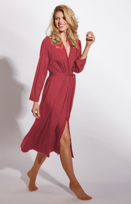 Long, classic calf-length, micromodal dressing gown