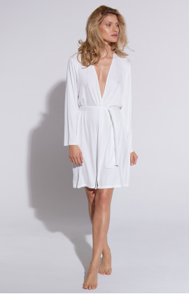 Mid-length micromodal dressing gown, cut just above the knee - Coemi-Lingerie