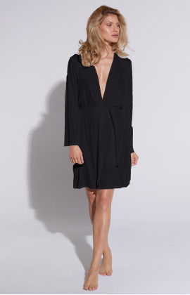 Mid-length micromodal dressing gown, cut just above the knee