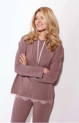 Velvety hooded sweatshirt with lace trim - Coemi-lingerie