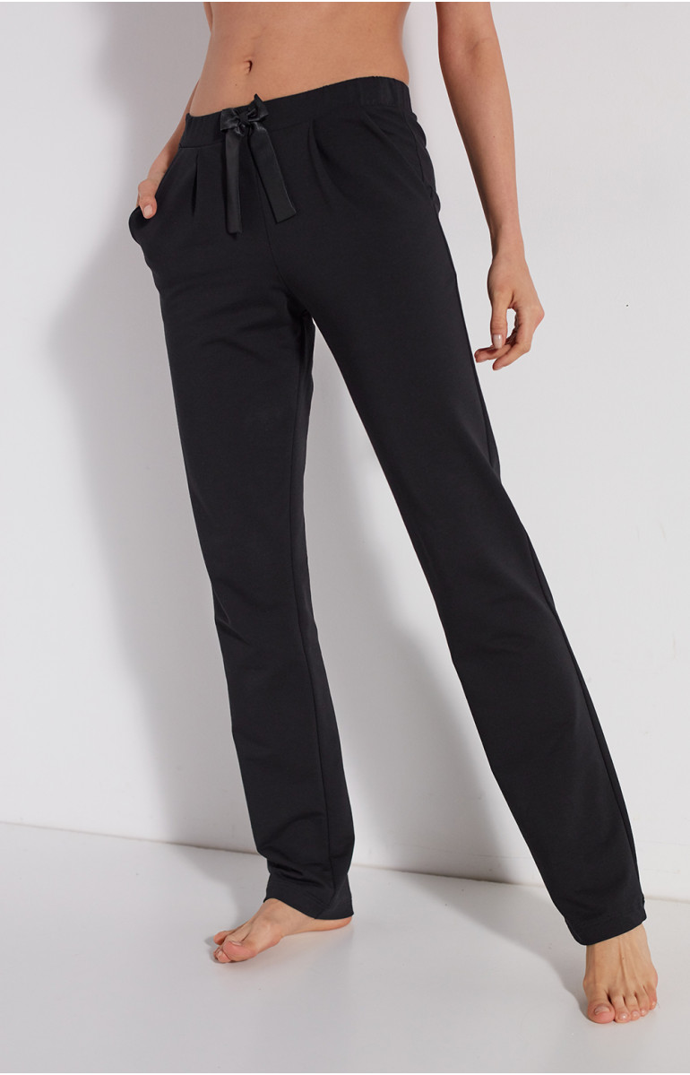 Straight-cut cotton loungewear joggers with wide ankles and elasticated waist - Cioemi-Lingerie