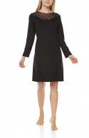 Straight-cut nightdress/lounge robe with long sleeves and lace