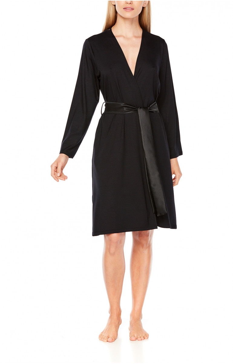Long-sleeve, knee-length, tulle and lace dressing gown - Coemi-Lingerie