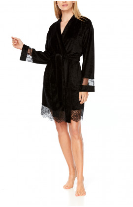 Knee-length dressing gown with long lace sleeves