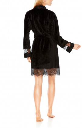 Knee-length dressing gown with long lace sleeves - Coemi-lingerie