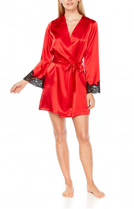 Mid-thigh dressing gown in red satin and black lace