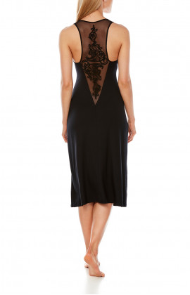 Sleeveless nightdress, cut just below the knee, with tulle and embroidery at the back - Coemi-Lingerie