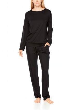 Black pyjamas/loungewear set in micromodal, tulle and embroidery