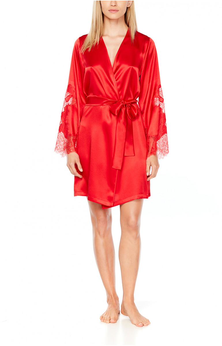 Satin and lace dressing gown, cut just above the knee - Coemi-Lingerie
