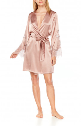 Satin and lace dressing gown, cut just above the knee