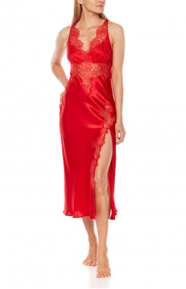 Chic and sensual, satin and lace long nightdress with thin, adjustable straps