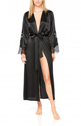 Ankle-length, long satin dressing gown with lace on the sleeves - Coemi-lingerie
