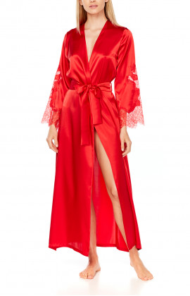Ankle-length, long satin dressing gown with lace on the sleeves