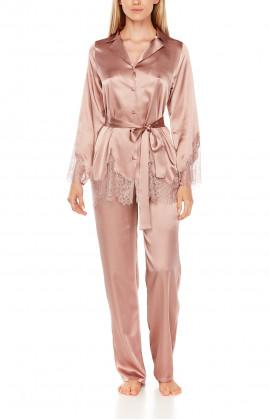 Satin pyjamas or loungewear set with belt and lace