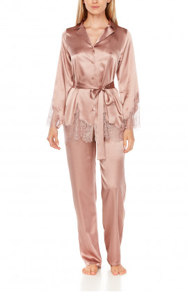 Satin pyjamas or loungewear set with belt and lace