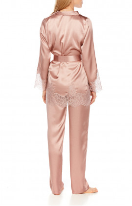 Satin pyjamas or loungewear set with belt and lace - Coemi-Lingerie
