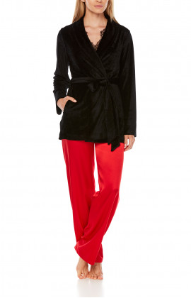 Satin pyjamas or loungewear set composed of a top, bottoms and long-sleeve jacket