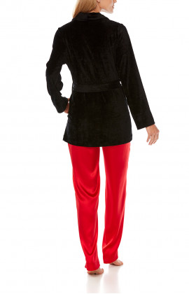 Satin pyjamas or loungewear set composed of a top, bottoms and long-sleeve jacket - Coemi-Lingerie
