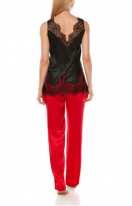 Red, loose-fit, straight-cut satin trousers - Coemi-Lingerie