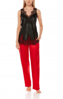 Red, loose-fit, straight-cut satin trousers