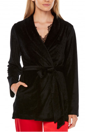 Bamboo and polyester long-sleeve jacket with belt