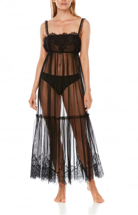 Long nightdress in tulle and steamy black lace Tanga knickers included